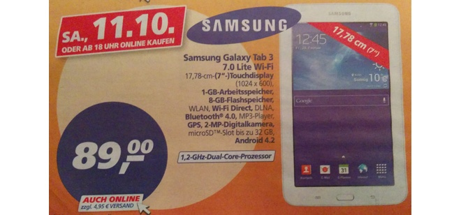 Samsung Galaxy Tab 3 70 Lite Real Deal des Tages