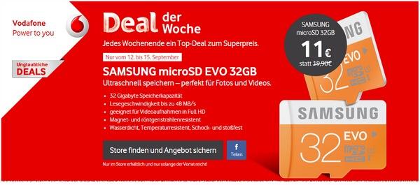 Samsung MicroSD EVO 32 GB als Vodafone Deal der Woche