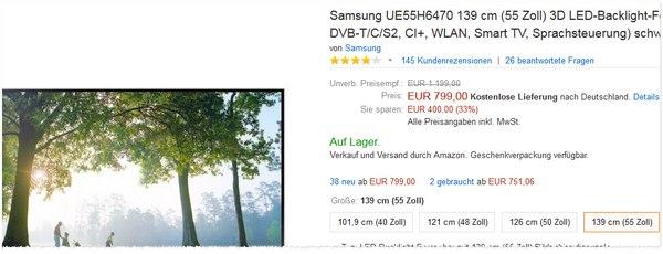 Samsung UE55H6470 bei Amazon