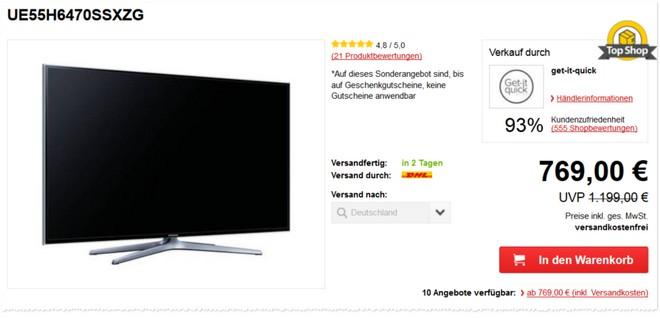 Samsung UE55H6470 Preis