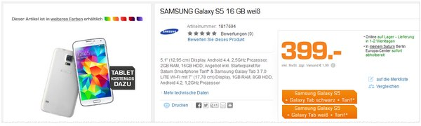 Saturn Galaxy S5 mit GalaxyTab gratis im Saturn Onlineshop