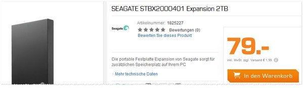 Seagate Expansion Portable 2,5 Zoll bei Saturn