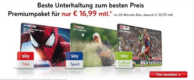 Sky Bundesliga-Abo für 16,99 €