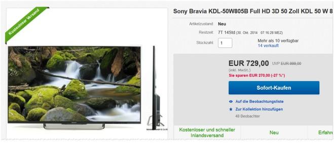 Sony KDL-50W805 Testberichte