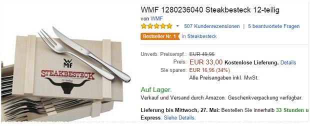 WMF Steakbesteck zum Amazon-Preis von 33 € mit Holzkiste