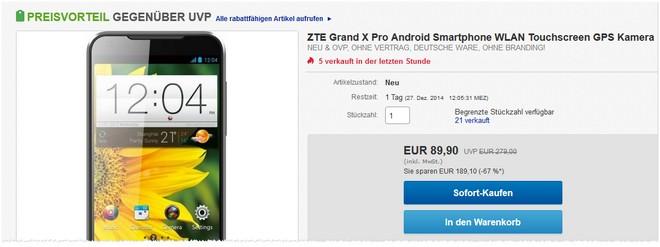 ZTE Grand X Pro Preis ohne Vertrag