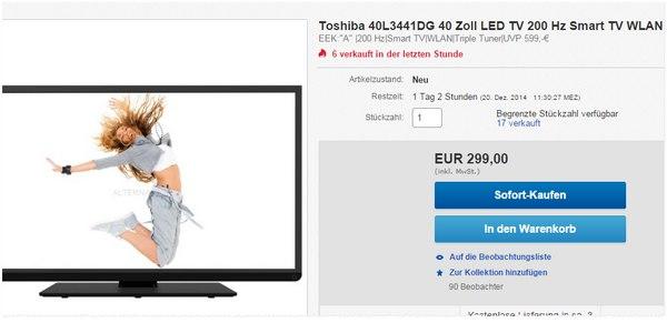 Toshiba 40L3441DG günstiger für 299 €