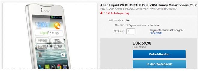 Acer Z130 ohne Vertrag