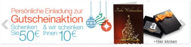 Amazon Geschenkgutschein-Aktion 50 10