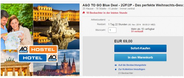 A&O to go Blue Deal Hotelgutschein