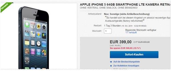 Apple iPhone 5 als generalüberholte Ware
