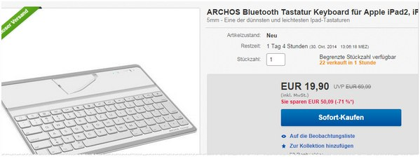 archos bluetooth tastatur f r ipad nur 19 90. Black Bedroom Furniture Sets. Home Design Ideas