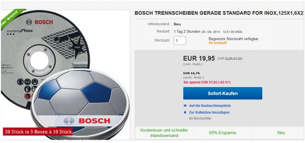 Bosch Trennscheiben als eBay-Angebot für 19,95 €