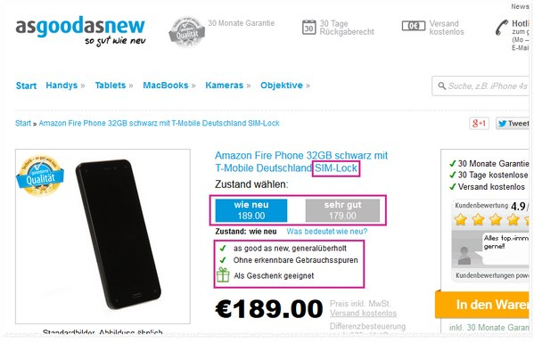 Fire Phone ohne Vertrag bei Asgoodasnew mit SIM-lock