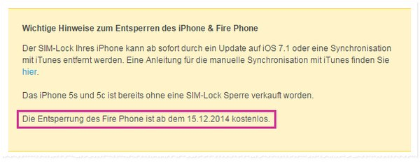 Fire Phone SIM-lock entsperren