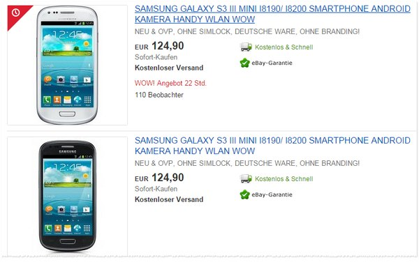 Samsung Galaxy S3 mini für 124,90 Euro