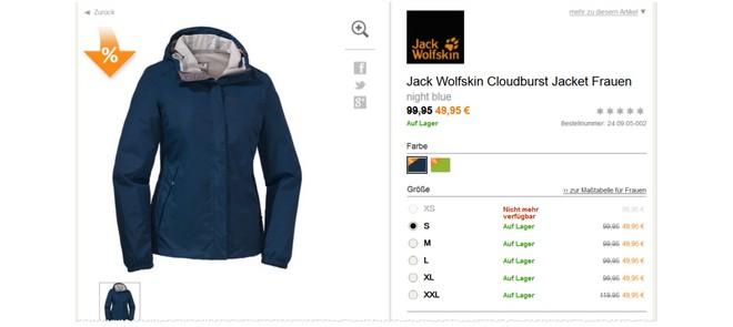 Jack Wolfskin Cloudburst Jacke günstig