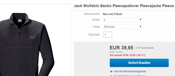 Jack Wolfskin Fleecepullover Gecko