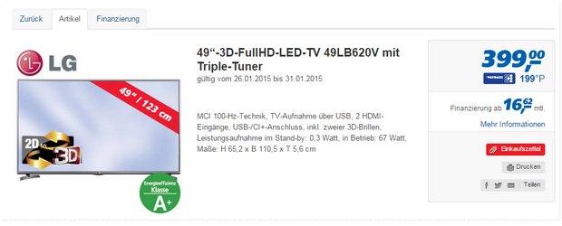 LG 49LB620V als Real-Angebot ab 26.1.2015