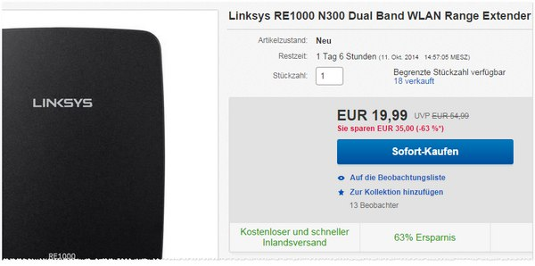 Linksys RE1000 N300