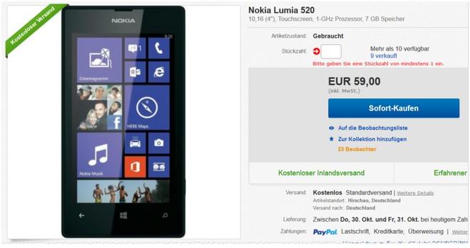 Lumia 520 gebraucht ohne Vertrag