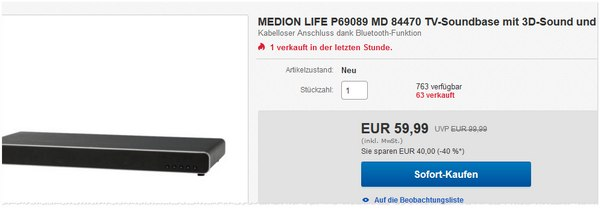 TV Soundbase Medion Life P69089 MD 84470