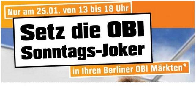 OBI Sonntags-Joker am 25.1.2015