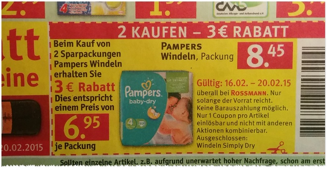 Pampers Coupon-Aktion bei Rossmann