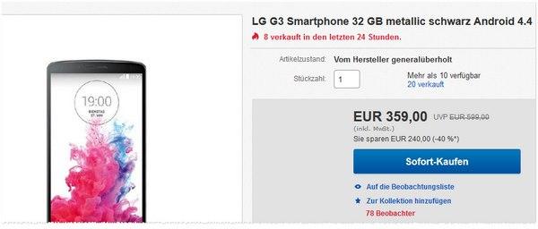 Preis fürs LG G3 generalüberholt