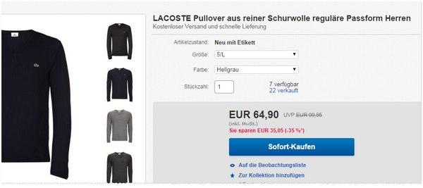 Pullover von Lacoste zum Outlet-Preis