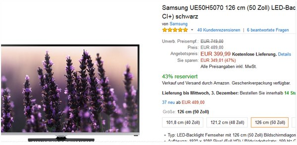 Samsung UE50H5070 bei Amazon
