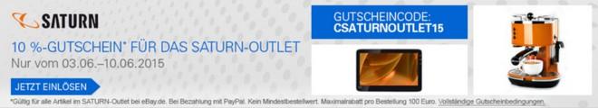 Saturn Outlet Gutschein für den eBay Shop in 2015