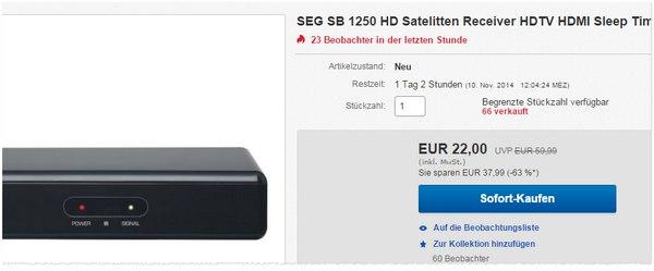 Die SEG SB 1250 HD Erfahrungen mit dem Satellitenreceiver sind überzeugend