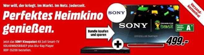 Sony KDL-48W605 + Sony BDP-S5200 aus der Media-Markt-Werbung für 499 €
