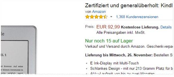 Amazon Kindle touch generalüberholt und zertifiziert