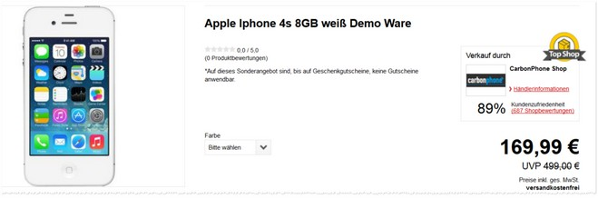 Apple iPhone 4s Demoware Gerät