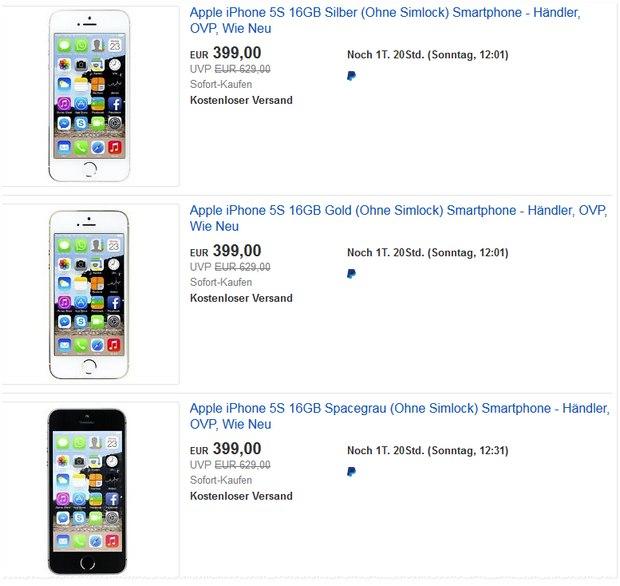 Apple iPhone 5S ohne Vertrag als B-Ware für 399 €