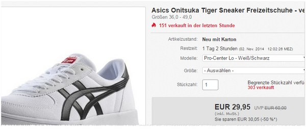Asics Onitsuka Tiger Sneaker in Weiß