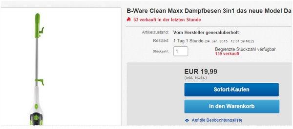 Clean Maxx Dampfbesen als B-Ware