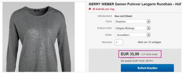 Gerry Weber mit reduzierten Angeboten