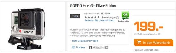 Go Pro Hero 3+ als Saturn-Angebot für 199 €