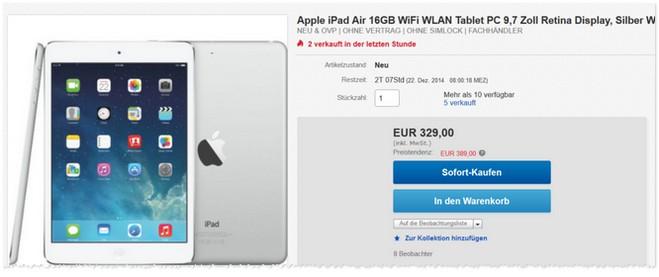 iPad Air mit 16GB und WiFi im Angebot