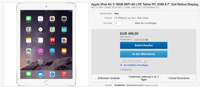 iPad Air 2 Angebot mit 4G