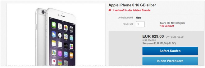 iPhone 6 ohne Vertrag Neuware