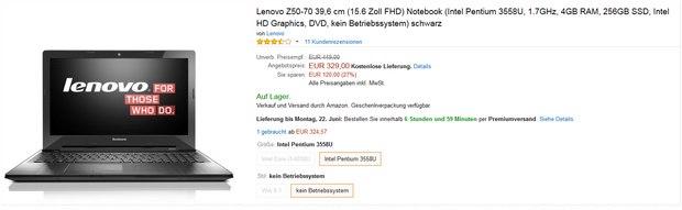 Lenovo Z50-70 ohne Betriebssystem
