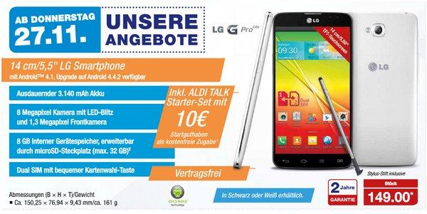 LG G Pro Lite als ALDI Angebot ab 27.11.2014 für 149 €