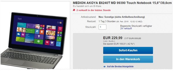 Medion Akoya E6240T im Notebook Outlet