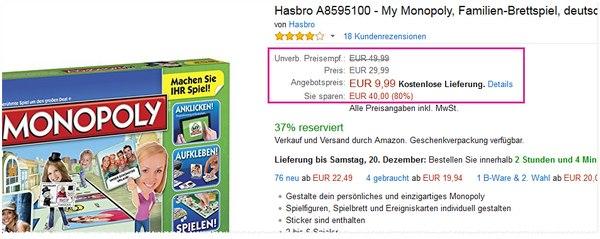 My Monopoly als Amazon Blitzangebot