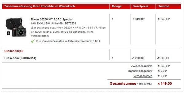 Nikon D3200 als ADAC Special bei Redcoon für 149 €? Oder ein Preisfehler?