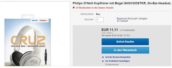 O'Neill Kopfhörer von Philips Erfahrungen